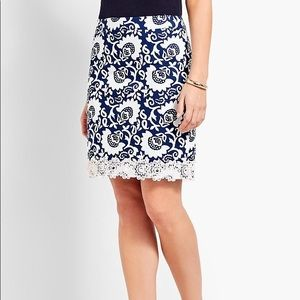 Talbots Lace Trimmed Cotton Canvas Skirt